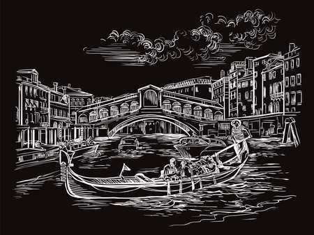 Vector hand drawing sketch illustration of Rialto Bridge in Venice. Venice skyline hand drawn sketch in white color isolated on black background. Travel concept. For print and design.