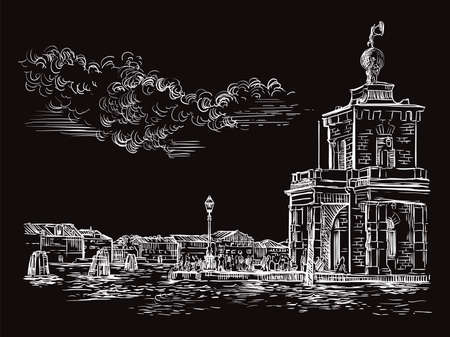 Vector hand drawing sketch illustration of Della Dogane Punta in Venice. Venice skyline hand drawn sketch in white color isolated on black background. Travel concept. For print and design.