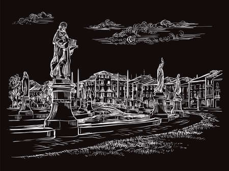 Vector hand drawing sketch illustration of Prato della Valle in Padua. in Venice. Venice skyline hand drawn sketch in white color isolated on black background. Travel concept. For print and design.