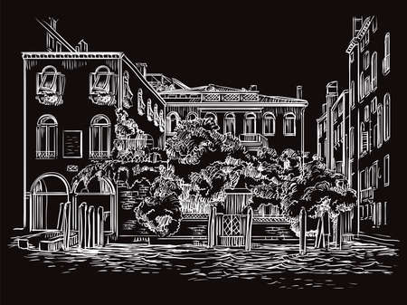 Vector hand drawing sketch illustration of canal and house in Venice. Venice skyline hand drawn sketch in white color isolated on black background. Travel concept. For print and design.