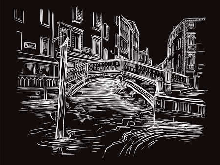 Vector hand drawing illustration of bridge on canal in Venice. Venice cityscape hand drawn sketch in white color isolated on black background. Travel concept. For print and design. Ilustracja