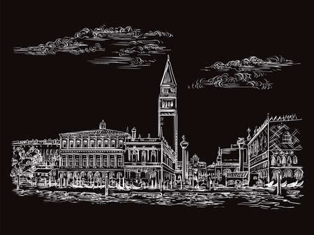 Vector hand drawing sketch illustration of St Marks Square in Venice. Venice skyline hand drawn sketch in white color isolated on black background. Travel concept. For print and design.