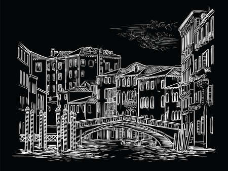 Vector hand drawing illustration of bridge on canal in Venice. Venice horizontal cityscape hand drawn sketch in white color isolated on black background. Travel concept. For print and design. Ilustracja