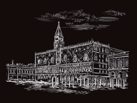 Vector hand drawing sketch illustration of Doges Palace in Venice. Venice skyline hand drawn sketch in white color isolated on black background. Travel concept. For print and design. Ilustracja
