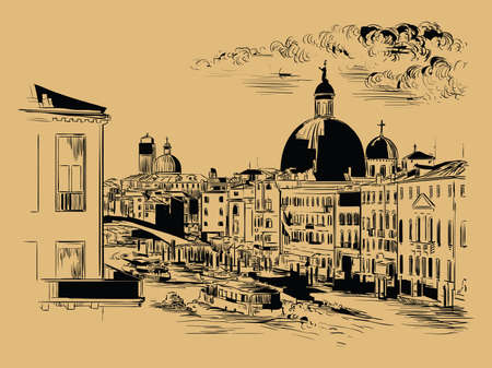 Vector hand drawing sketch illustration of Grand Canal in Venice. Venice skyline hand drawn sketch in black color isolated on beige background. Travel concept. For print and design.