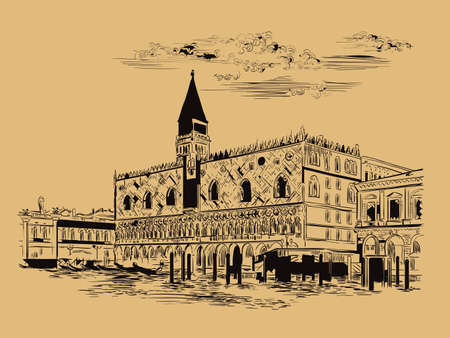 Vector hand drawing sketch illustration of Doges Palace in Venice. Venice skyline hand drawn sketch in black color isolated on beige background. Travel concept. For print and design.