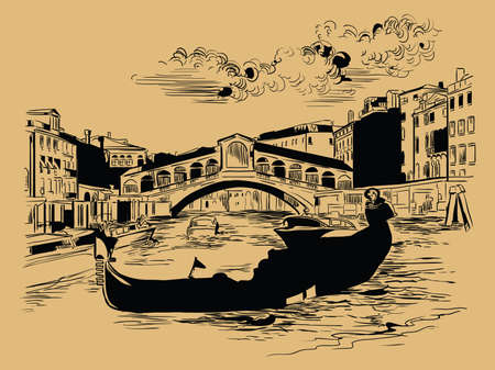 Vector hand drawing sketch illustration of Rialto Bridge on Grand Canal in Venice. Venice skyline hand drawn sketch in black color isolated on beige background. Travel concept. For print and design.