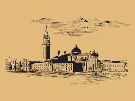 Vector hand drawing sketch illustration of Venice panorama skyline view. Venice skyline hand drawn sketch in black color isolated on beige background. Travel concept. For print and design.