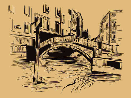 Vector hand drawing sketch illustration of canal in Venice. Venice skyline hand drawn sketch in black color isolated on beige background. Travel concept. For print and design.