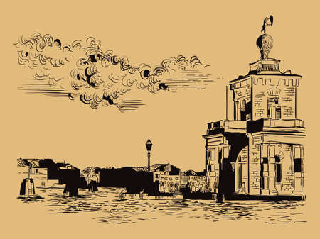 Vector hand drawing sketch illustration of Della Dogane in Venice. Venice skyline hand drawn sketch in black color isolated on beige background. Travel concept. For print and design.