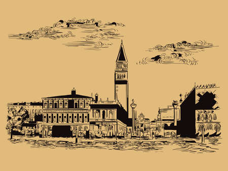Vector hand drawing sketch illustration of St Marks Square in Venice. Venice skyline hand drawn sketch in black color isolated on beige background. Travel concept. For print and design.