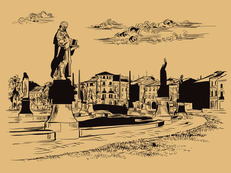 Vector hand drawing sketch illustration of Prato della Valle in Venice. Venice skyline hand drawn sketch in black color isolated on beige background. Travel concept. For print and design.