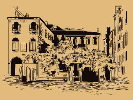 Vector hand drawing sketch illustration of Venice cityscape hand drawn sketch in black color isolated on beige background. Travel concept. For print and design.