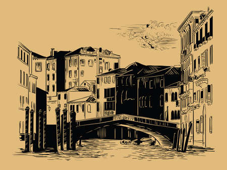 Vector hand drawing sketch illustration of canal in Venice. Venice skyline hand drawn sketch in black color isolated on beige background. Travel concept. For print, design. Ilustração