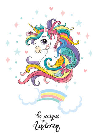 Cute head of unicorn with long rainbow mane. Vertical poster. Vector illustration isolated on white background. For stickers, party, embroidery, design, decoration, print, t-shirt, dishes, bed linen