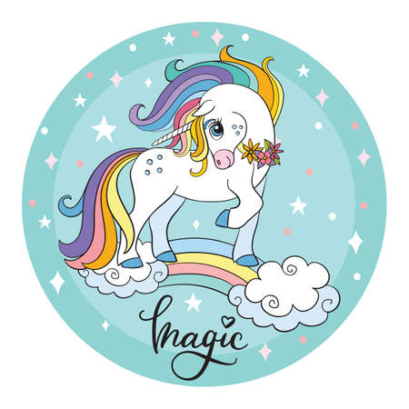 Cute cartoon unicorn standing on a rainbow. Vector illustration circle shape isolated on turquoise background. Birthday, party concept. For sticker, embroidery, design, decoration, print, t-shirt, dishes