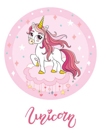 Cute cartoon unicorn standing on a cloud. Vector illustration circle shape isolated on white background. Birthday, party concept. For sticker, embroidery, design, decoration, print, t-shirt, dishes