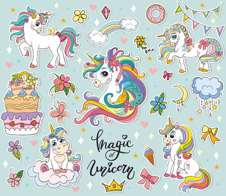 Set of cute cartoon unicorns with magic elements. Vector illustration isolated on a turquoise background. Birthday, party concept. For sticker, embroidery, design, decoration, print, t-shirt, dishes Illustration