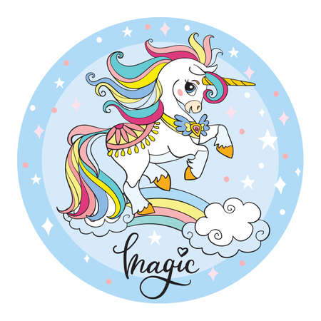 Cute cartoon unicorn standing on a rainbow. Vector illustration circle shape isolated on white background. Birthday, party concept. For sticker, embroidery, design, decoration, print, t-shirt, dishes