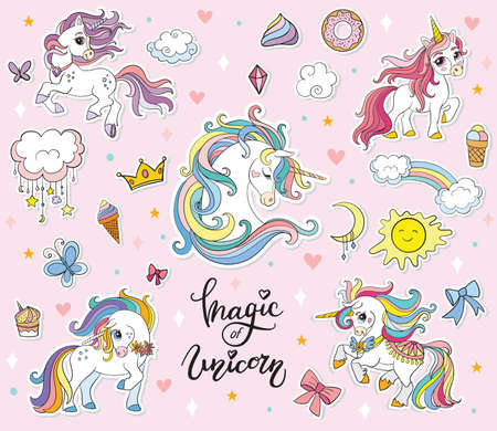 Set of cute cartoon unicorns with magic elements. Vector illustration isolated on a pink background. Birthday, party concept. For sticker, embroidery, design, decoration, print, t-shirt, dishes
