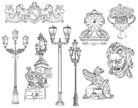 Hand drawn sketch set of urban decorative architectural elements lanterns, bas-relief. V