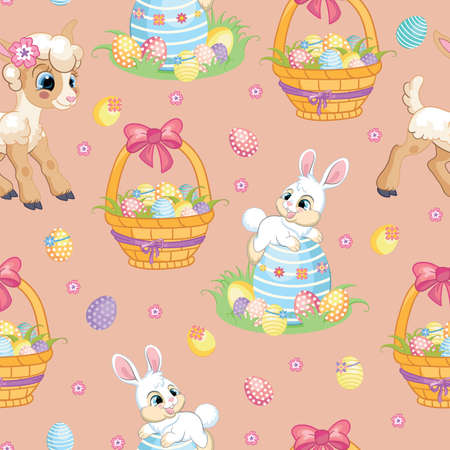 Seamless vector pattern with Easter concept. White rabbit, lamb and basket with easter eggs. Colorful illustration isolated on pink background. For print, t-shirt, design, wallpaper, decor, textile