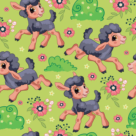 Seamless vector pattern with cartoon characters Cute black lambs and flowers. Colorful illustration isolated on green background. For print, t-shirt, design, wallpaper, decor, textile