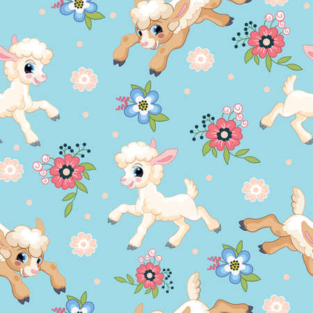 Seamless vector pattern with cartoon characters cute white lambs and flowers. Colorful illustration isolated on blue background. For print, t-shirt, design, wallpaper, decor, textile