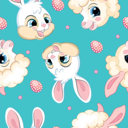 Seamless vector pattern with Easter concept. Heads of cute white bunnies and pretty lambs. Colorful illustration isolated on turquoise background. For print, t-shirt, design, wallpaper, decor, textile 向量圖像