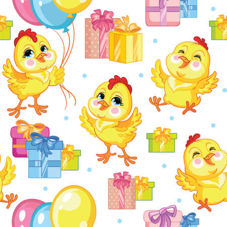 Cute cartoon party chickens with balloons and presents. Vector seamless pattern on white background. Illustration for party, print, baby shower, wallpaper, design, decor, design cushion, linen, dishes
