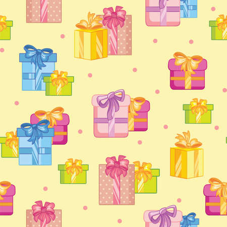 Cartoon party present boxes and confetti. Vector seamless pattern on yellow background. Illustration for party, print, baby shower, wallpaper, design, decor, design cushion, linen, dishes, packaging