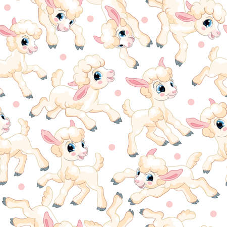Seamless vector pattern. Cute cartoon characters white lambs and confetti. Colorful illustration isolated on white background. Spring easter concept. For print, t-shirt, design, wallpaper, decor, textile