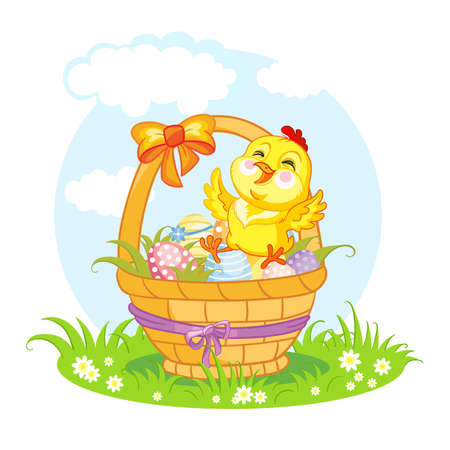 Cute cartoon character chicken on the basket with easter eggs. Vector isolated illustration.
