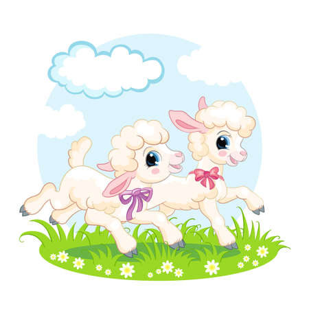Cute cartoon characters two lambs running on a flower meadow. Vector isolated illustration. invitation
