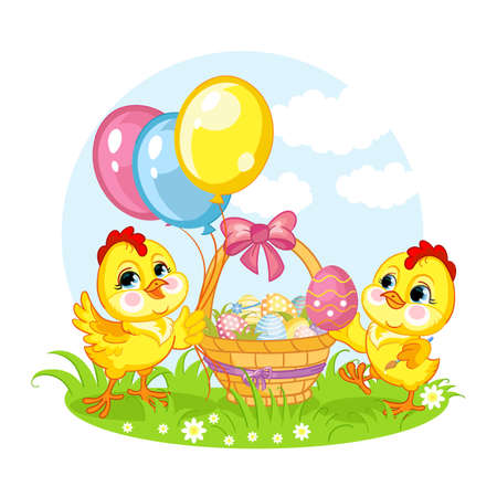 Cute cartoon characters two chickens and the basket with easter eggs. Vector isolated illustration.