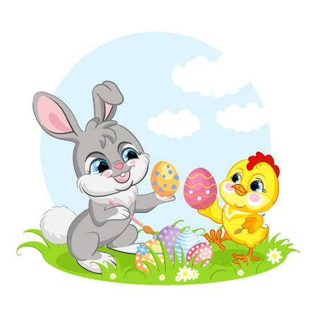 Cute cartoon characters chicken and rabbit with easter eggs. Vector isolated illustration. Ilustração