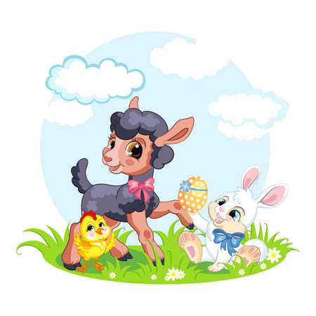 Cute cartoon characters chicken, lamb, rabbit with easter eggs. Vector isolated illustration. Ilustração