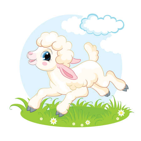 Cute cartoon character lamb running on a flower meadow. Vector isolated illustration.