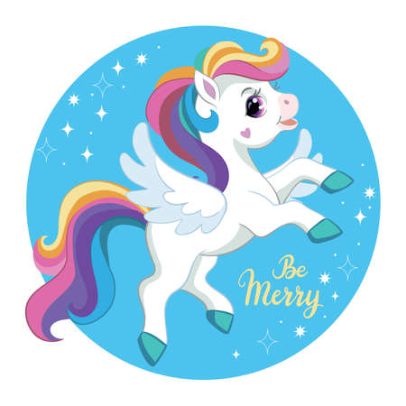 Cute cartoon character unicorn with rainbow mane and wings. Vector illustration.