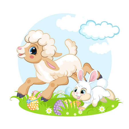 Cute cartoon characters lamb and rabbit running on a flower meadow. Vector isolated illustration. For postcard, posters, nursery design, cards, stickers, room decor, t-shirt, kids apparel, invitation