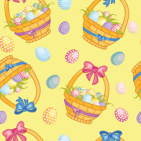 Seamless vector pattern with Easter concept. Cute cartoon baskets with easter eggs. Colorful illustration isolated on yellow background. For print, t-shirt, design, wallpaper, decor, textile, linen Ilustração