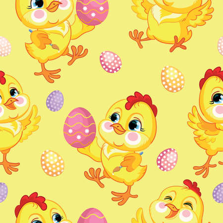 Seamless vector pattern with Easter concept. Cute chickens and easter eggs. Colorful illustration isolated on yellow background. For print, t-shirt, design, wallpaper, decor, textile, linen Ilustração