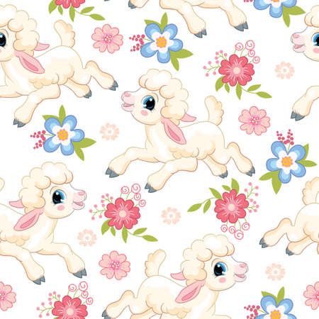 Seamless vector pattern with spring concept. Cute cartoon character lambs and flowers. Colorful illustration isolated on white background. For print, t-shirt, design, wallpaper, decor, textile
