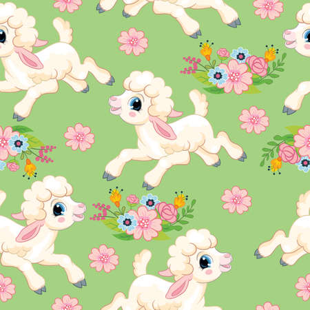 Seamless vector pattern with spring concept. Cute cartoon character white lamb and flowers. Colorful illustration isolated on green background. For print, t-shirt, design, wallpaper, decor, textile