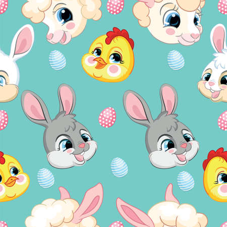 Seamless vector pattern with Easter concept. Heads of cute rabbits, lambs and chickens. Colorful illustration isolated on turquoise background. For print, t-shirt, design, wallpaper, decor, textile, linen Ilustração