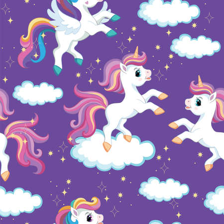 Seamless vector pattern with cute cartoon character unicorn with clouds and sparkle. Colorful illustration isolated on purple background. For print, t-shirt, design, wallpaper, decor, textile, packaging Ilustração