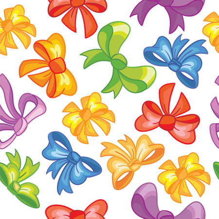 Seamless vector pattern, party concept. Cute simple colorful ribbons isolated on white background. Colorful illustration. For print, t-shirt, design, wallpaper, decor, textile, linen, packaging paper, party