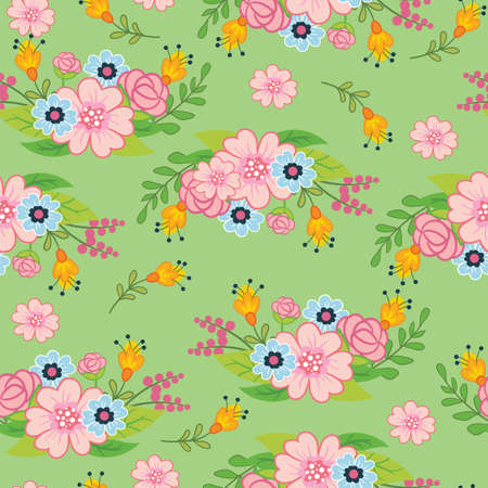 Seamless vector pattern with spring concept. floral motif. Colorful illustration isolated on white background. For print, t-shirt, design, wallpaper, decor, textile, linen