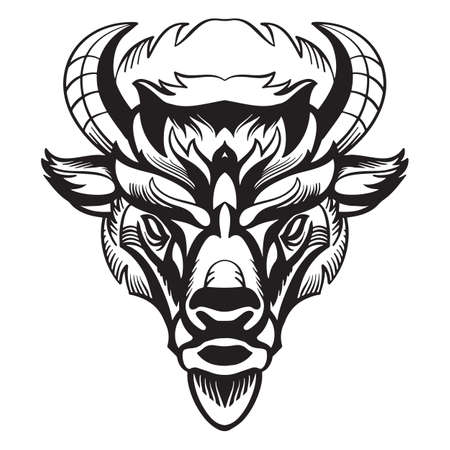 Mascot. Vector head of bison. Black illustration of danger wild bull isolated on white background.