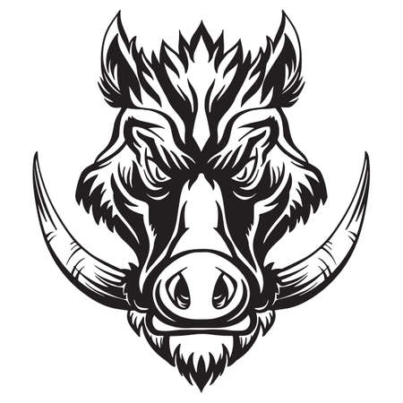 Mascot. Vector head of boar. Black illustration of danger wild pig isolated on white background.